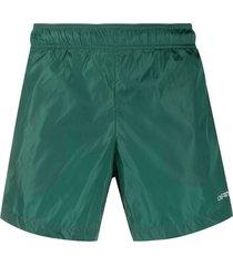 off-white logo print swim shorts - green