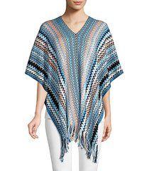 fringed chevron poncho