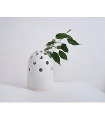 wazon fly's eye -biała kopułka/różowa miseczka