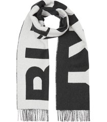 burberry reversible logo scarf - black
