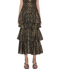 'anita' lurex tiered maxi skirt