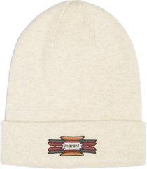 women's isabel marant hart logo patch cotton & wool beanie -