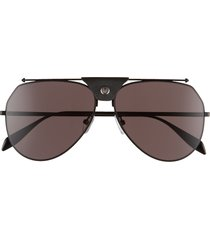 alexander mcqueen 61mm aviator sunglasses in black/grey at nordstrom