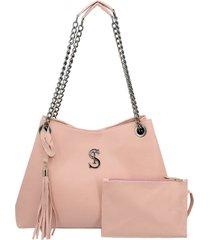 bolsa de ombro grande alça corrente rosa selten