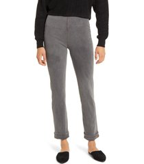 women's lysse boyfriend high rise denim leggings, size large - grey
