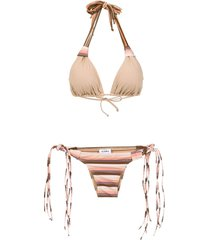 amir slama striped bikini set - neutrals