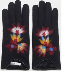 floral knit gloves - black - u