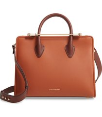 strathberry tricolor midi leather tote - brown