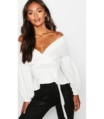 bell sleeve wrap over top, white
