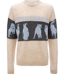 animal jacquard logo sweater