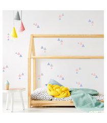 adesivo de parede quartinhos triangulos 78un cinza, azul e rosa