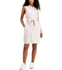 tommy hilfiger striped sleeveless button-down dress