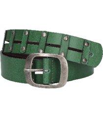 cinturón cuero con detalles de remaches verde zappa