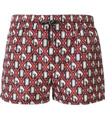 dolce & gabbana monogram swim shorts - red