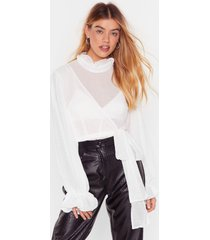 womens tie ruffle high neck blouse with wrap design - white