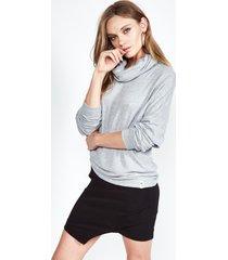 josh turtleneck pullover - l heather grey