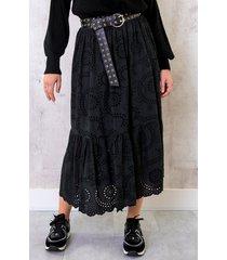 maxi embroidery rok zwart
