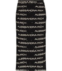 alessandra rich logo tweed pencil skirt - black
