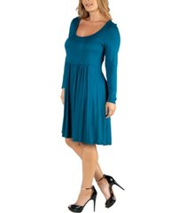 24seven comfort apparel knee length pleated long sleeve plus size dress