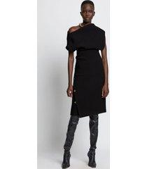 proenza schouler twisted off shoulder wool twill dress 00200/black 6