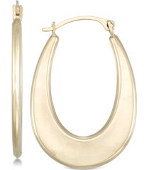 polished graduated oval hoop earrings in 10k gold