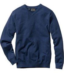 pullover in maglia fine con scollo a v regular fit (blu) - bpc selection