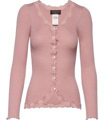 silk cardigan regular ls w/rev vint gebreide trui cardigan roze rosemunde