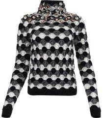 embellished high neck sweater