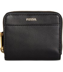 fossil evelyn zip bifold leather wallet