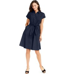 charter club petite cotton tie-waist shirtdress, created for macy's