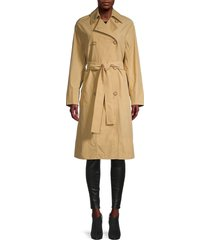 vince women's drapey tech trench coat - sun khaki - size xs