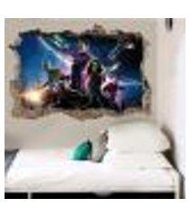 adesivo buraco na parede guardiões da galaxia - g 65x100cm