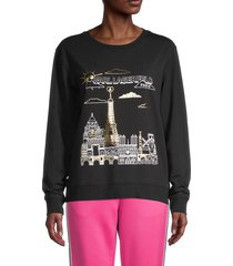 karl lagerfeld paris women's metallic paris graphic sweatshirt - black gold - size xs