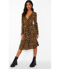 leopard print button front belted midi dress, brown