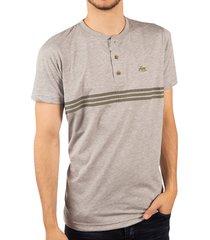 camiseta rayas cuello henley gris ref. 107090919