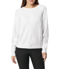 women's joe's pieced raglan sleeve sweatshirt, size large - white