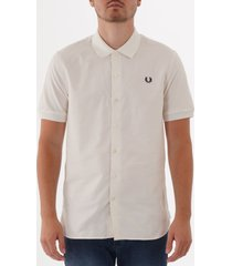 fred perry knitted collar oxford shirt - snow white m3550-129