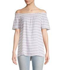 off-the-shoulder linen & cotton blend top