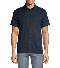 perry ellis men's slim-fit short-sleeve shirt - dark sapphire - size m