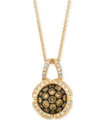 "le vian chocolatier diamond cluster 18"" pendant necklace (7/8 ct. t.w.) in 14k gold"