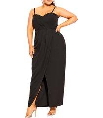 plus size women's city chic drape sleeveless maxi dress, size x-small - black