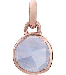rose gold siren mini bezel pendant charm blue lace agate