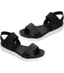 las mujeres planas casual peep-toe sandalias con plataforma impermeable&banda elástica