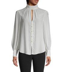 cinq à sept women's keyhole silk blouse - ivory - size s