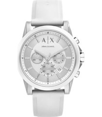ax armani exchange unisex chronograph white silicone strap watch 44mm ax1325