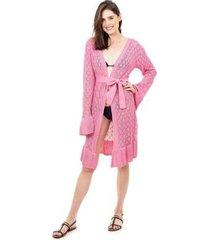 tricô saída de praia pink tricot renda manga flare com cinto feminina
