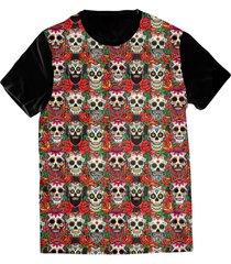 camiseta elephunk estampada méxico caveiras mexicana preta - kanui