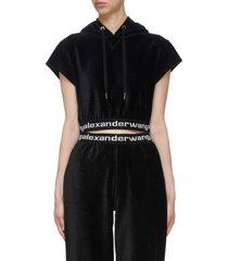 branded elastic trim short sleeves corduroy hoodie