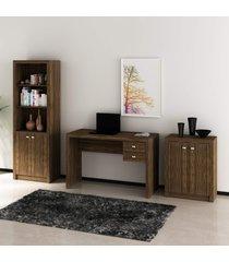 conjunto de escritório com mesa, armário alto e baixo 02 nogal dallas - tricae