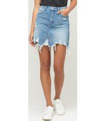 women's heavily distressed uneven raw hem mini denim skirt